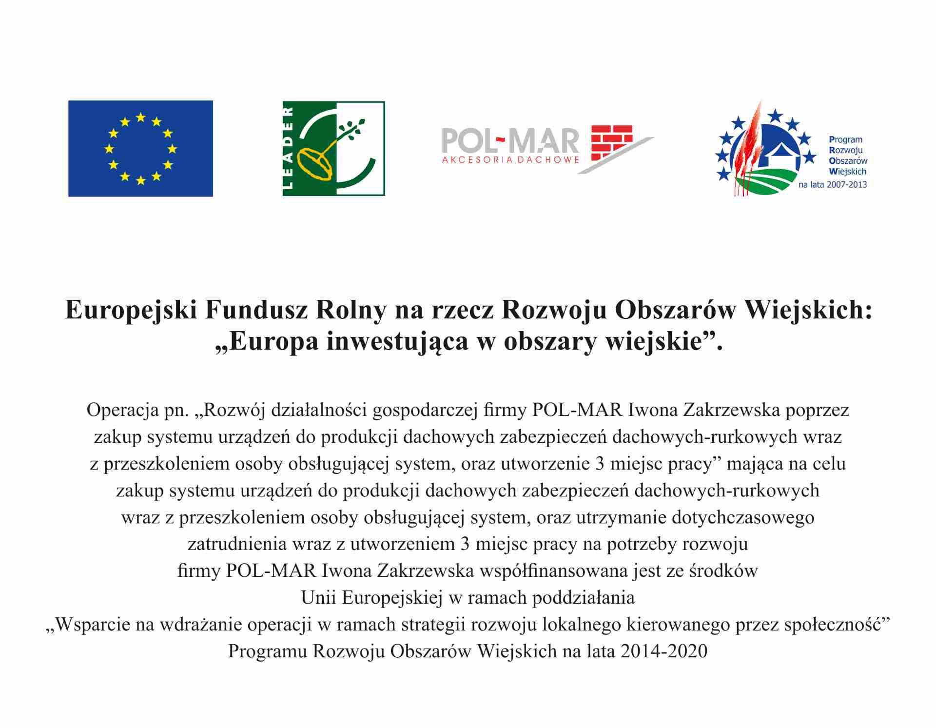 Europejski Fundusz Rolny dla Firmy Pol-Mar